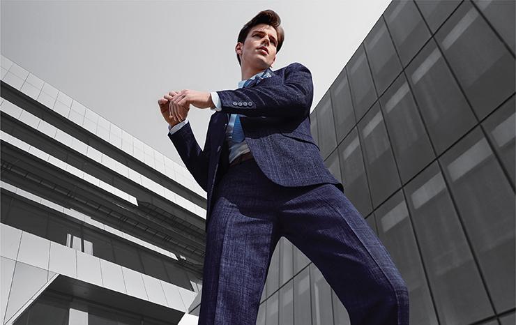 Breathable Linen Blend Checked Suit Set 03110843