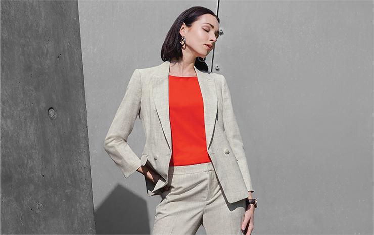 Crosshatch Double Breast Suit Blazer 03210505 Cap Sleeve Basic Knit Top 03273007 Crosshatch Ankle Cigarette Suit Pants 03250005
