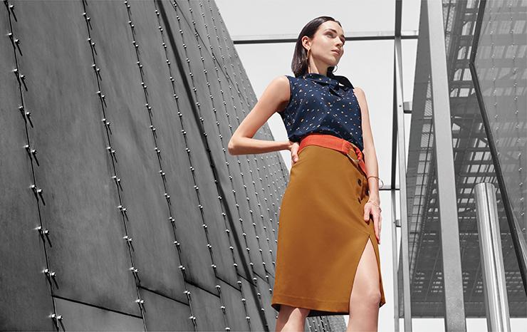 Dot Printed Top 03248014 Sateen Below Knee Pencil Skirt 03264002
