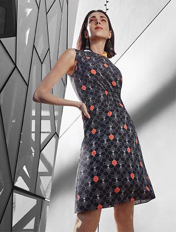 Geometric Pattern Printed Dress 03262020