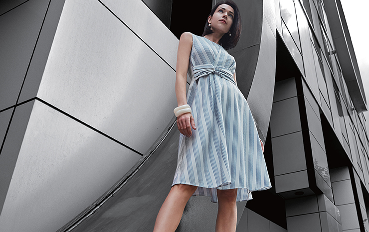 Ombre Stripe Fit And Flared Dress With Twisted Waist 01262005