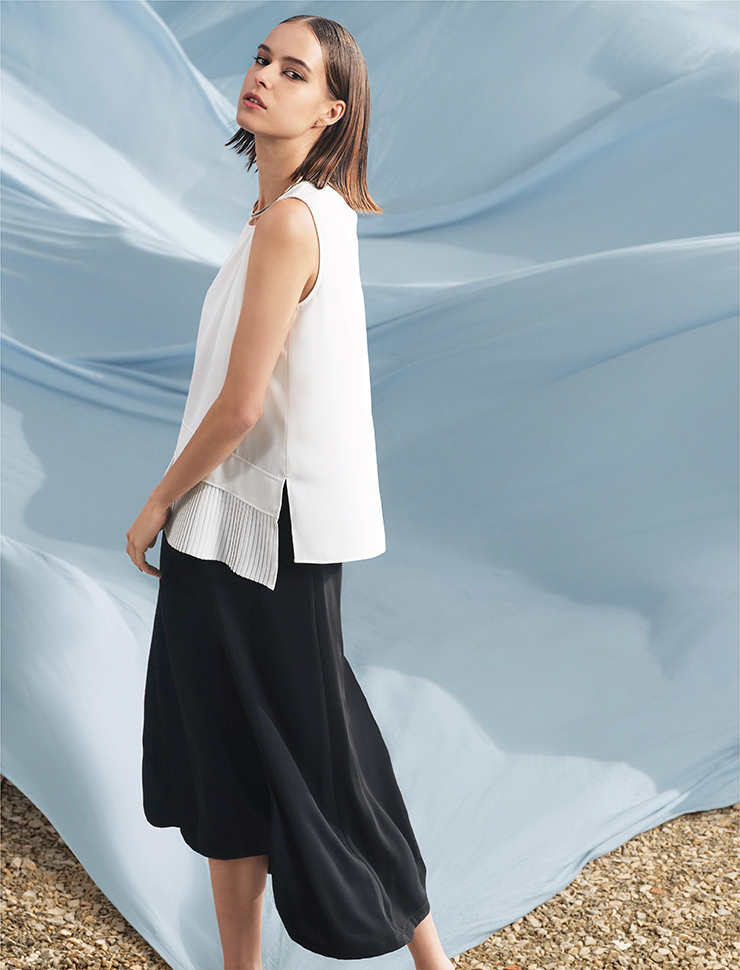 Sleeveless Top With Pleated Hem 11248001 Smooth and Flowy Culottes 11252002
