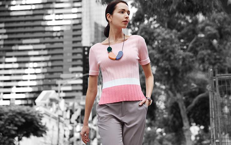 Viscose Nylon Boat Neck Color Block Sweater 01790002 Basic Ankle Cigarette Suit Pants 01250002